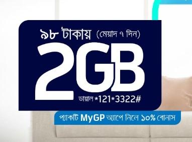 Grameenphone 2 GB Internet 98 TK