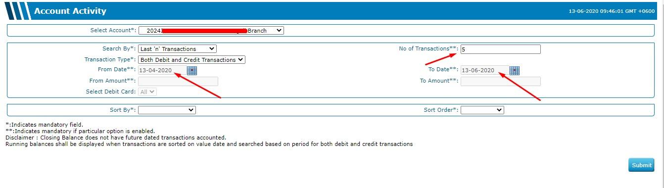 Statement Selection - DBBL Internet Banking - DBBL Bank Statement Download