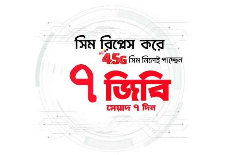 Free 7 GB Internet of Robi 4G SIM Replacement