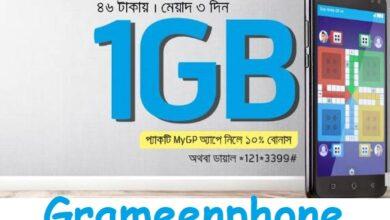 GP 1 GB 46 TK Internet Offer
