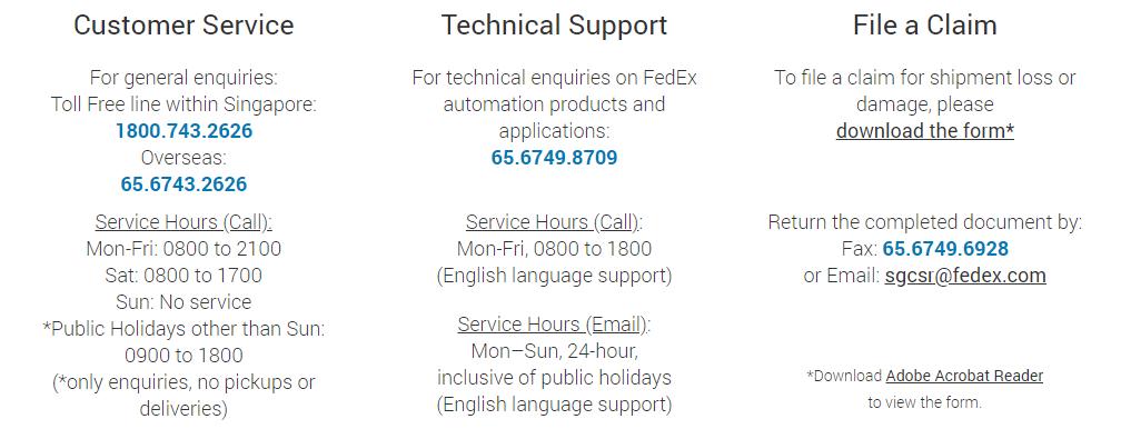 FedEx Customer Service Singapore