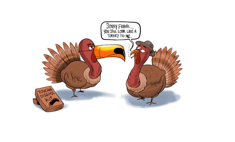 Happy Thanksgiving Day Funny Cartoon
