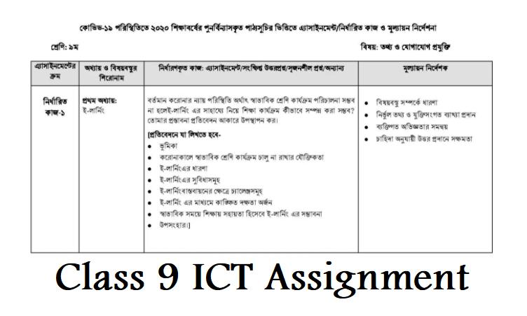 Class 9 ICT Assignment 3rd Week